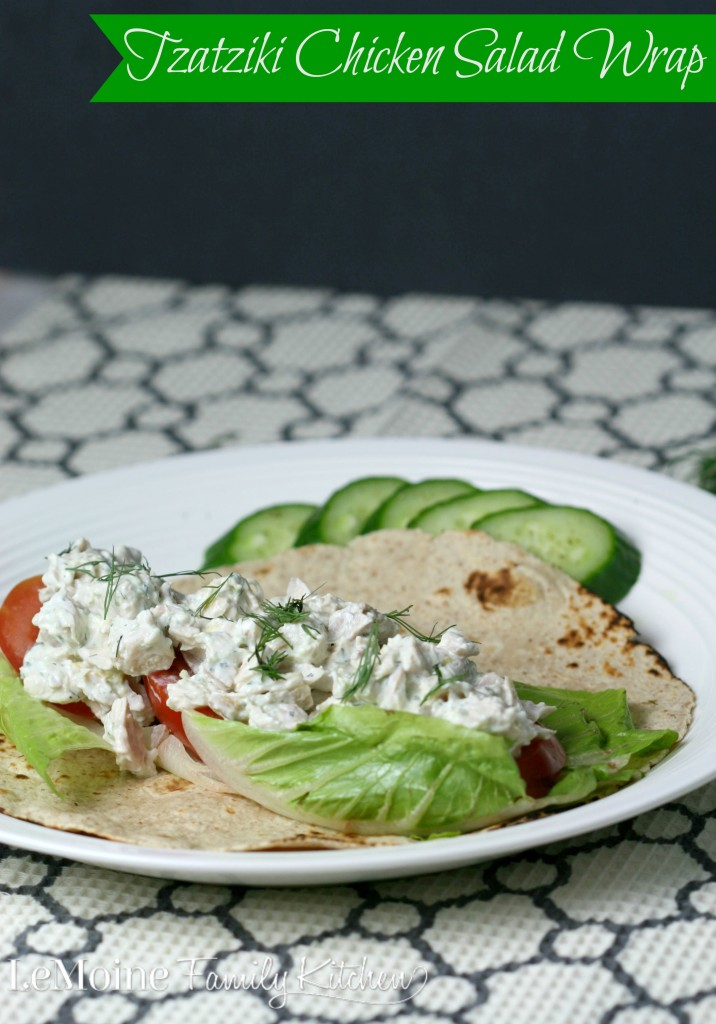 Flavorful and healthy Greek inspired chicken salad, Tzatziki Chicken Salad Wrap. This one makes for a perfect lunch or light dinner, especially great for warmer weather days. The homemade tzatziki sauce is really what makes this dish so fantastic!
