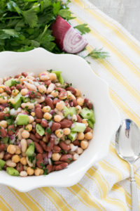 Nutritious Bean Salad. This salad only takes 5 minutes to make and is so incredibly hearty, healthy and delicious! A must try!