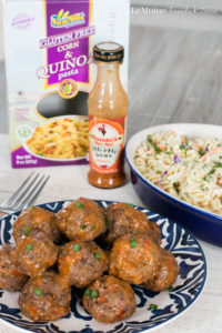 Peri Peri Meatballs & Broccoli Slaw Pasta Salad. Spicy and incredibly flavorful bite sized meatballs with a simple cold pasta salad to go along with it. #DegustaBox #ad