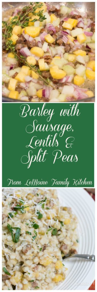 Barley with Sausage, Lentils & Split Peas. A simple and rustic dish that is so packed with flavor. Creamy, hearty and healthy.