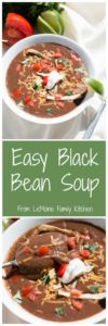 Easy Black Bean Soup | LeMoine Family Kitchen. This hearty and healthy soup comes together so easily and is packed with flavor. A great weeknight dinner.