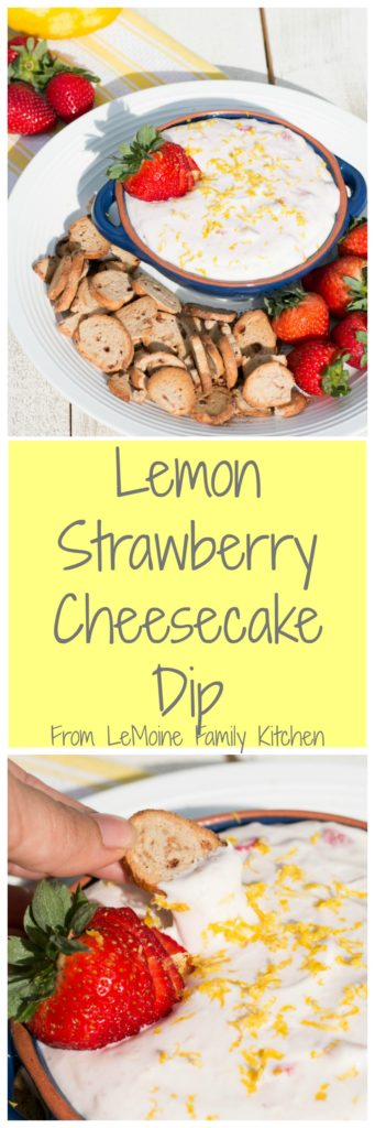 Lemon Strawberry Cheesecake Dip. A simple and flavor packed dessert. This dip is perfectly creamy and a wonderful balance of sweet and tart. Serve along with cinnamon bagel chips and fresh strawberries. A huge hit at parties!
