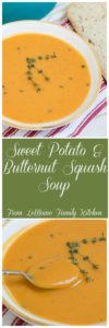 Sweet Potato & Butternut Squash Soup. Smooth, velvety and so full of flavor. This comforting bowl of soup just screams Fall.