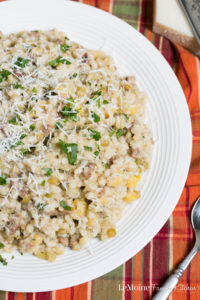 Barley with Sausage, Lentils & Split Peas. A simple and rustic dish that is so packed with flavor. Creamy barley, hearty sausage and the great health benefits of plot peas and lentils. This is a dish my grandmother would throw together and you'd want to lick your plate clear!