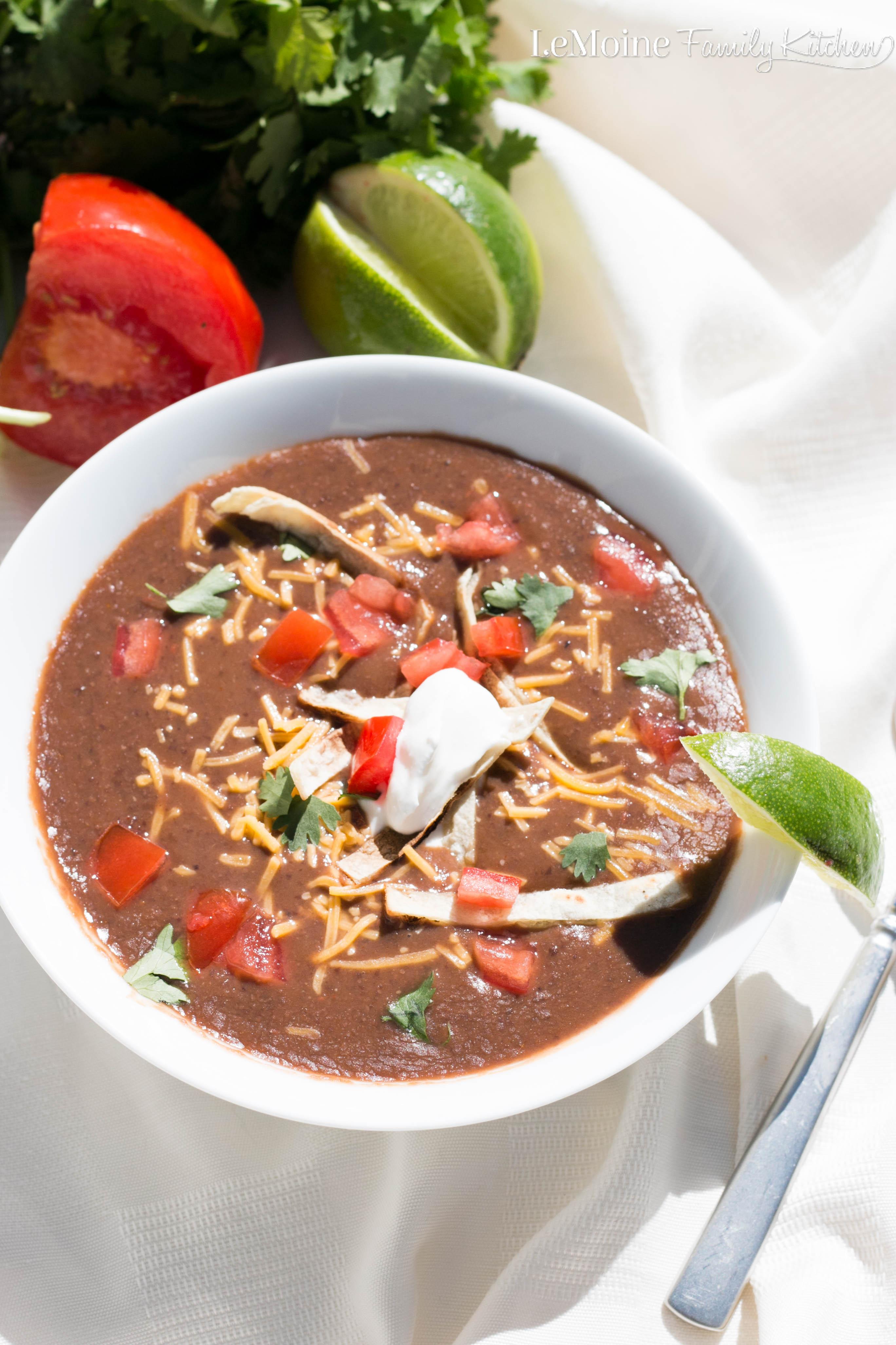 Easy black bean soup lemoine family kitchen How to make healthy soup for dinner