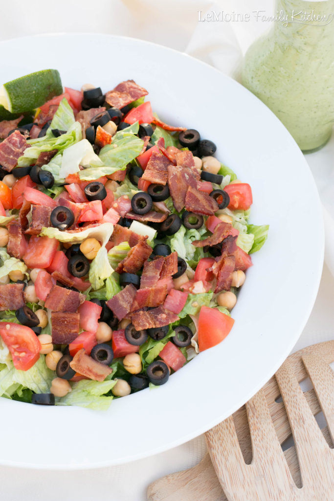 BLT Chopped Salad with Avocado Ranch Dressing . Everything you love about a BLT in a salad with an incredible avocado dressing. Full of great flavor and makes for a perfect weeknight meal or lunch! This is a GREAT salad!