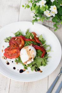 Burrata & Roasted Tomato Salad . Elegant and easy salad makes for a delicious lunch, light dinner or holiday appetizer course.