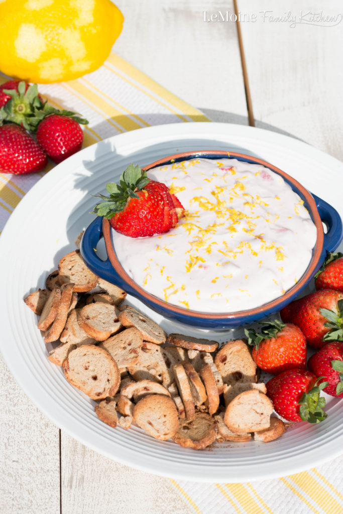 Lemon Strawberry Cheesecake Dip. This dip is perfectly creamy and a wonderful balance of sweet and tart. Serve with cinnamon bagel chips and strawberries.
