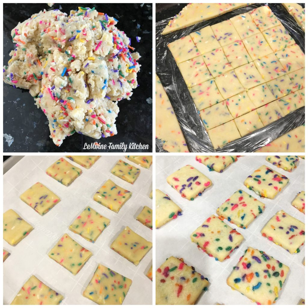 Rainbow Shortbread Cookies. A really easy and fun cookie! Packed with sprinkles, dipped in white chocolate. A great sweet treat!