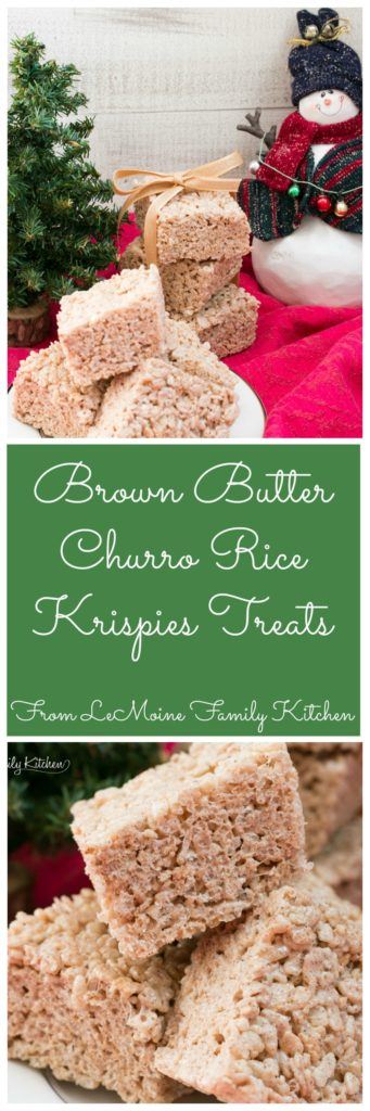 Brown Butter Churro Rice Krispies Treats. A fast and easy dessert that everyone is going to LOVE! Nutty brown butter, cinnamon and a pinch of salt really elevate this treat to another level! #FreakyFriday