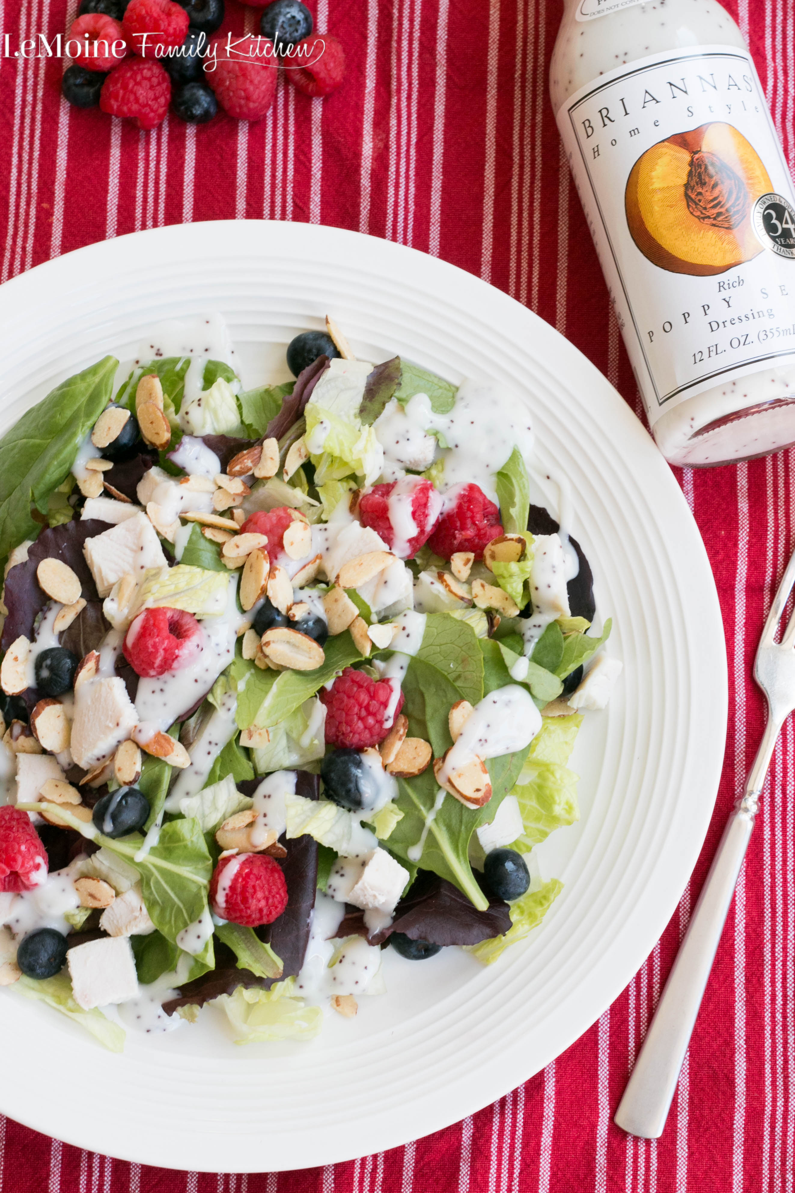 Chicken, Berry & Almond Salad with Poppy Seed Dressing