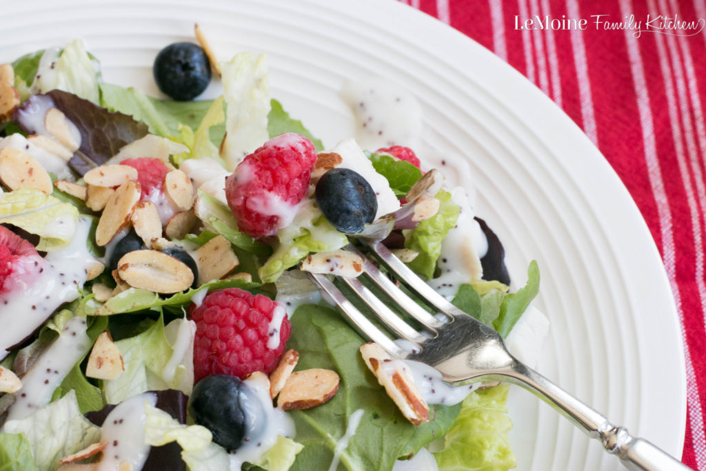 This Chicken, Berry & Almond Salad with Poppy Seed Dressing is so bright, fresh and full of flavor. It is sure to become a favorite healthy & light meal.