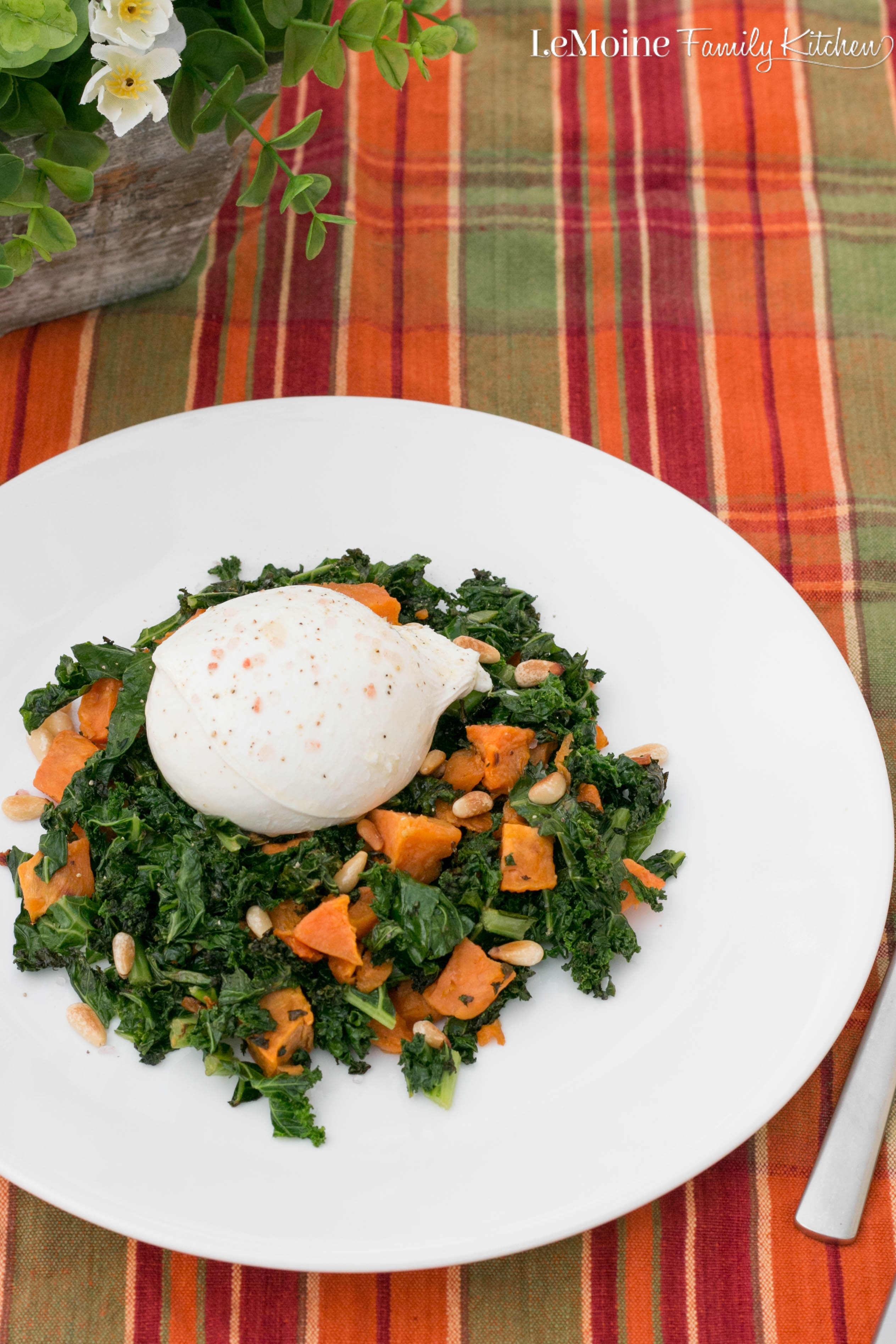 Roasted Butternut Squash, Kale and Burrata. Fall inspired meal with simple ingredients and big flavor. This makes for a great fast weeknight meal or as part of your holiday menu.