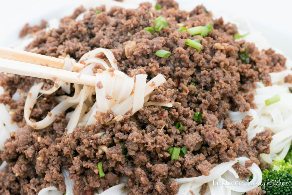 Korean Beef & Noodles. Its incredibly delicious and easy. Get this better then take out dinner on the table in no time. Served with rice noodles and steamed broccoli for a perfect weeknight meal.