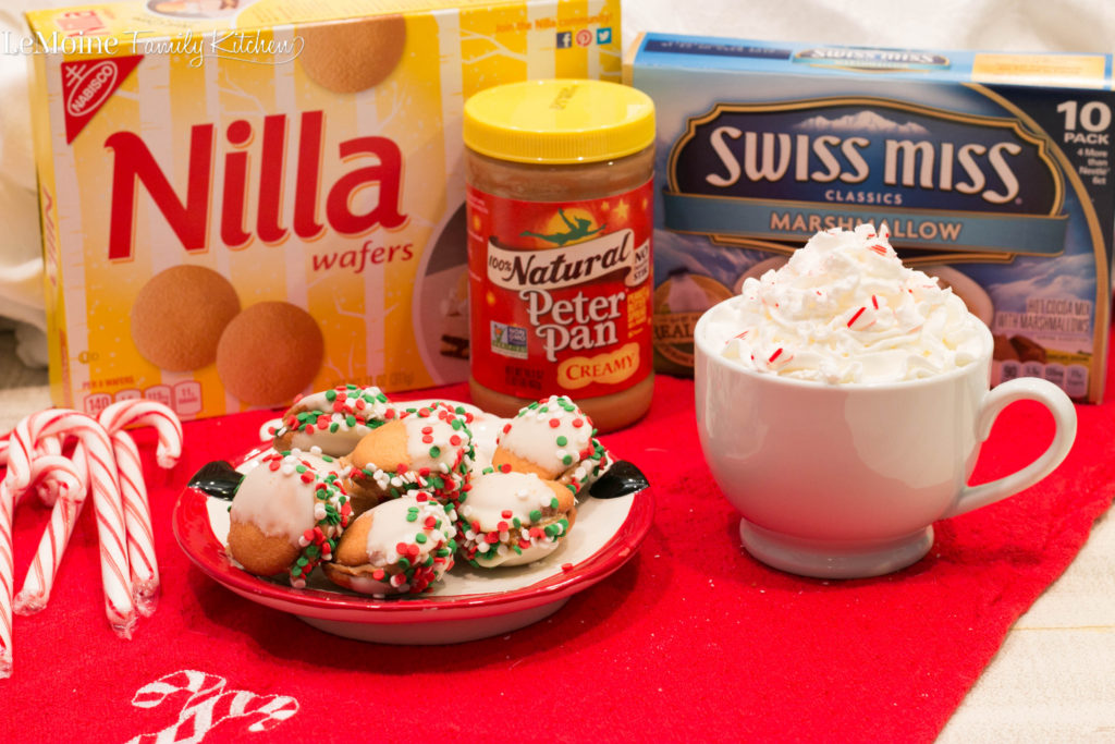 No Bake Peanut Butter Wafer Sandwiches & Peppermint Hot Cocoa. Whip up this really easy sweet treat for Santa this year! They are delicious and so fun! #newforsanta #ad