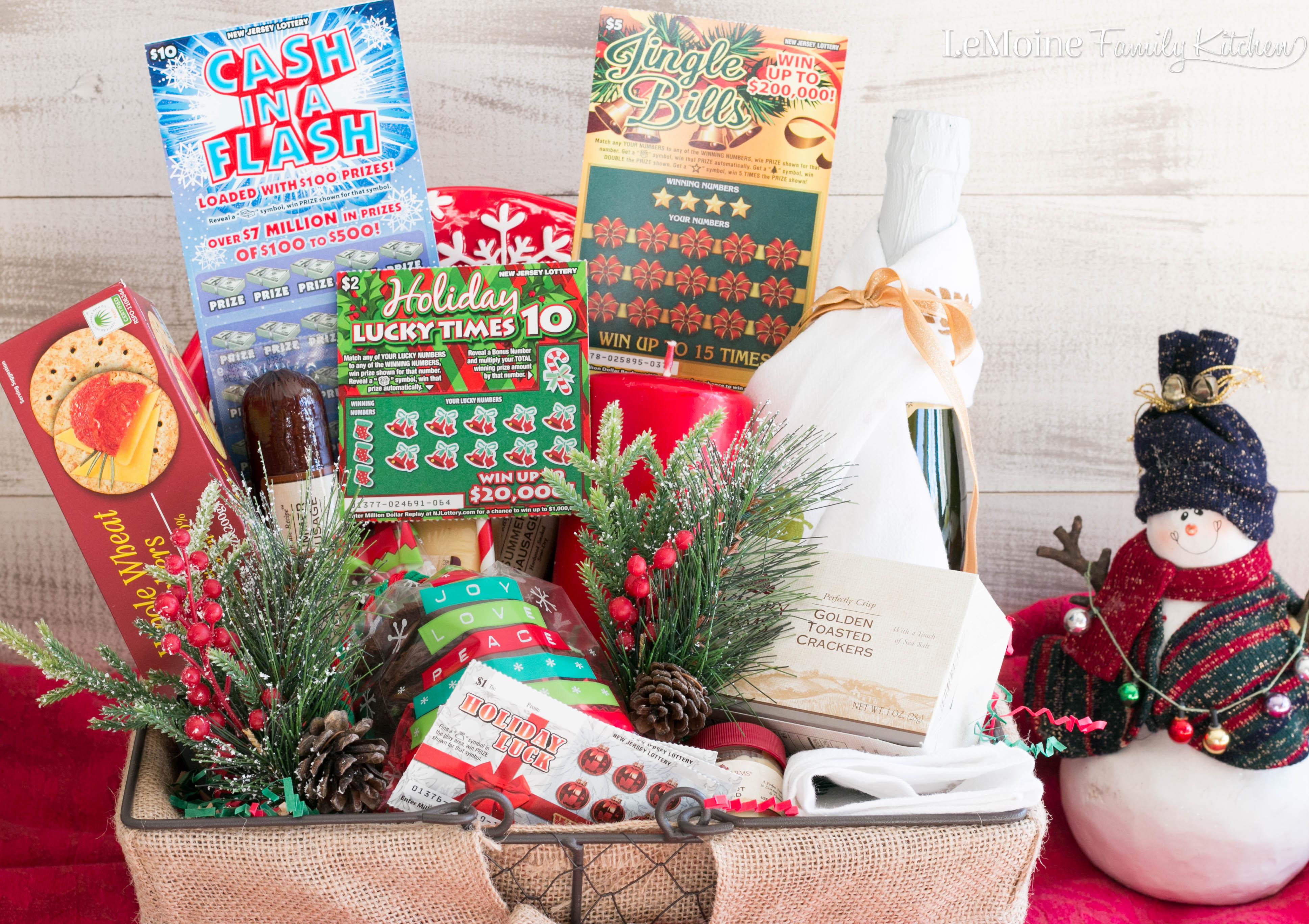 Food Lovers Gift Basket With Nj Lottery Lemoine Family