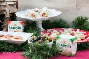3 Easy Holiday Appetizers with Boursin® Cheese. Wow guests with these easy to make appetizers this holiday season! Crostini with Boursin® Red Chili Pepper and summer sausage, Boursin® Garlic & Fine Herbs Cheese and Veggie Pinwheels and Garlic Parm Puff Pastry Cups with Boursin® Garlic & Fine Herbs Cheese! #BoursinCheese [ad] @Walmart