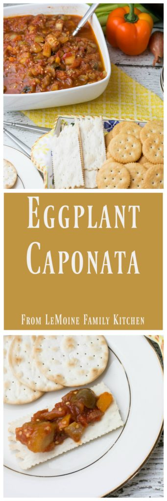 Eggplant Caponata is one of my favorite rustic Italian dishes and in my opinion it is super versatile. Typically served as I did here, cold with crackers or bread, it is also delicious tossed with pasta or over top grilled chicken. This caponata is absolutely delicious!