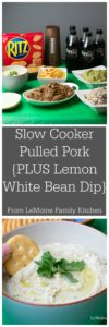 Slow Cooker Pulled Pork Taco Bar {PLUS a Lemon White Bean Dip}. I've got two fantastic recipes that are a MUST make for your next get get together! This Pulled Pork Taco Bar & Lemon White Bean Dip will score you a touchdown with friends and family. A little bonus, these are way lighter then traditional football eats, so go ahead and ENJOY! #ReadyForKickoff #ad