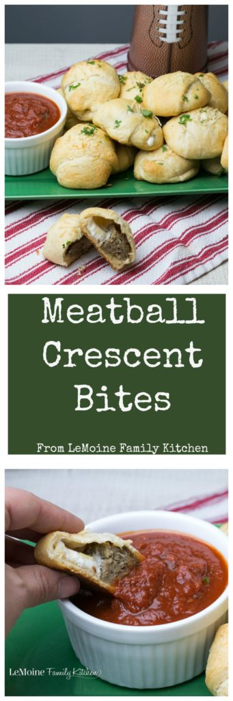 Meatball Crescent Bites. This easy appetizer is PERFECT for any get together. Meatball and fresh mozzarella wrapped in a buttery crescent sprinkled with garlic powder and pecorino cheese then baked to golden perfection. Serve with your favorite sauce for dipping. #BJsSmartSaver