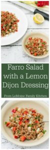 Farro Salad with a Lemon Dijon Dressing. Easy to make, bright fresh flavors and super healthy! This salad is great on its own or served with grilled chicken, shrimp, heck even tofu!