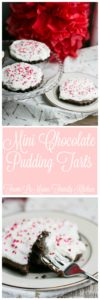 Mini Chocolate Pudding Tarts. Chocolate crust, chocolate pudding and fresh whipped cream! A simple and decadent dessert that is perfect for any occasion.