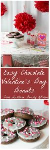 "Today I'm sharing with you a really Easy Chocolate Valentines Donut recipe {PLUS a FREE Valentines Menu Printable!} to help you celebrate with the ones that you love. Whether a close friend, a parter, spouse, your kids... these donuts are a perfectly sweet way to say ""I Love You"". #SendingYourLove #CollectiveBias {ad}"