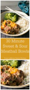 30 Minute Sweet & Sour Meatball Bowls. Yes! You can this delicious dinner on the table in just 30 minutes! Talk about a perfect weeknight meal!