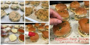 Eggplant Parm Sliders. Fun sized classic Italian sandwich. A quick tomato sauce, baked eggplant rounds and some shredded mozzarella. Great for dinner or as a party food too! Oh and those slider buns are brushed in melted butter and sprinkled with garlic powder and fresh parsley... AMAZING!