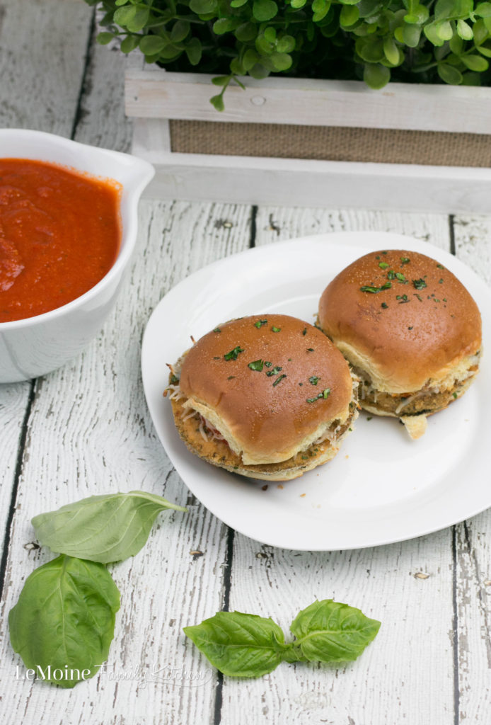 Eggplant Parm Sliders. Fun sized classic Italian sandwich. A quick tomato sauce, baked eggplant rounds and some shredded mozzarella. Great for dinner or as a party food too!