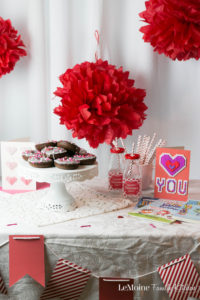 """Today I'm sharing with you a really Easy Chocolate Valentines Donut recipe {PLUS a FREE Valentines Menu Printable!} to help you celebrate with the ones that you love. Whether a close friend, a parter, spouse, your kids... these donuts are a perfectly sweet way to say """"I Love You"""". #SendingYourLove #CollectiveBias {ad}"""