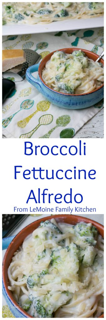 Broccoli Fettuccine Alfredo is such a delicious and easy weeknight dinner. The alfredo is a perfectly creamy, cheesy sauce that just grabs onto the strands of fettuccine and bright broccoli.