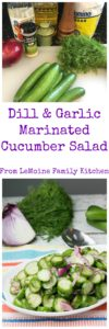 Dill & Garlic Marinated Cucumber Salad. This is such a refreshing dish. The perfect balance of sweet and tart, similar to a quick overnight pickle, this cucumber salad is a perfect side dish! #FreakyFriday
