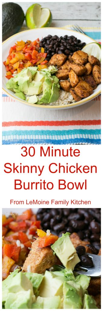 30 Minute Skinny Chicken Burrito Bowl. Really simple, quick, delicious and healthy meal. Brown rice topped with sautéed peppers and onions, black beans, diced avocado and perfectly seasoned tender chicken.