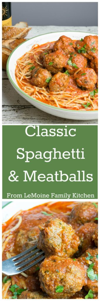 If there is one meal that everyone should learn to make it is definitely the Classic Spaghetti & Meatballs. This classic Italian Sunday dinner is perfection. Serve along with my cheesy garlic bread and a simple salad and the whole family will have full bellies and full hearts.