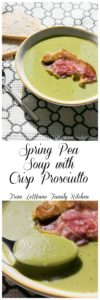 Spring Pea Soup with Crisp Prosciutto. This meal comes together so easily and quickly. It is a new favorite around here for its bright, fresh flavors.