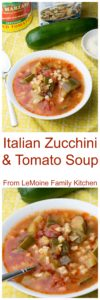 This Italian Zucchini & Tomato Soup has to be one of the easiest soups and one of my favorites. A handful of very simple ingredients, 30 minutes to cook and the flavors are fantastic!