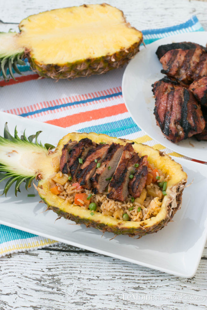 Grilled Pork with Pineapple Fried Rice. A delicious, flavor packed {and gorgeous if I do say so myself} meal that is perfect for any night of the week. Thanks to Smithfield® Marinated Fresh Pork you can have this meal on the table in under 45 minutes! #ad #RealFlavorRealFast