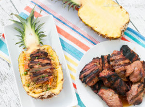 Grilled Pork with Pineapple Fried Rice. A delicious, flavor packed {and gorgeous if I do say so myself} meal that is perfect for any night of the week. Thanks to Smithfield® Marinated Fresh Pork you can have this meal on the table in 30 minutes! #ad #RealFlavorRealFast