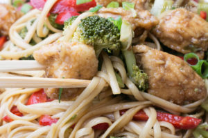 What a delicious meal this Easy Chicken Stir Fry is! The sauce is one i've used many times and is perfection in this recipe. Tender chicken, steamed vegetables and noodles all tossed together with an incredible sauce... dinner perfection.