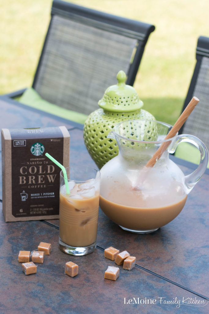 Summer is here and I am so ready to spend extra time outdoors with the family. Lets enjoy every sippable Summer moment with this Easy Caramel Cold Brew Coffee. It is so refreshing and delicious! Make a pitcher, sit back and sip away!