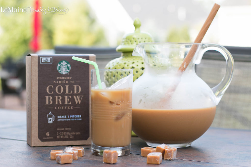Summer is here and I am so ready to spend extra time outdoors with the family. Lets enjoy every sippable Summer moment with this Easy Caramel Cold Brew Coffee. It is so refreshing and delicious! Make a pitcher, sit back and sip away!  #craftyourcool #collectivebias