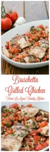 Bruschetta Grilled Chicken. A perfect summer meal. Simple to make, healthy and bright fresh flavor. Grilled chicken topped with juicy sweet tomatoes, lots of fresh basil, some garlic, oliveoil and a drizzle of balsamic vinegar.