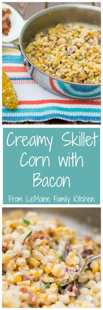 Creamy Skillet Corn with Bacon. Grab that summer sweet corn and make this incredible side dish. Its simple and so full of flavor... plus BACON!