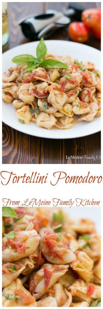I have been so lucky to have a good crop of San Marzano tomatoes in the garden. This Tortellini Pomodoro has quickly become a go to meal around here. Its simple to make, fast to throw together and so incredibly fresh and delicious! This is the simple Italian I love!  #pasta