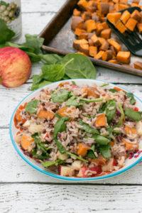 Wild Rice Salad with Sweet Potato, Spinach & Apple