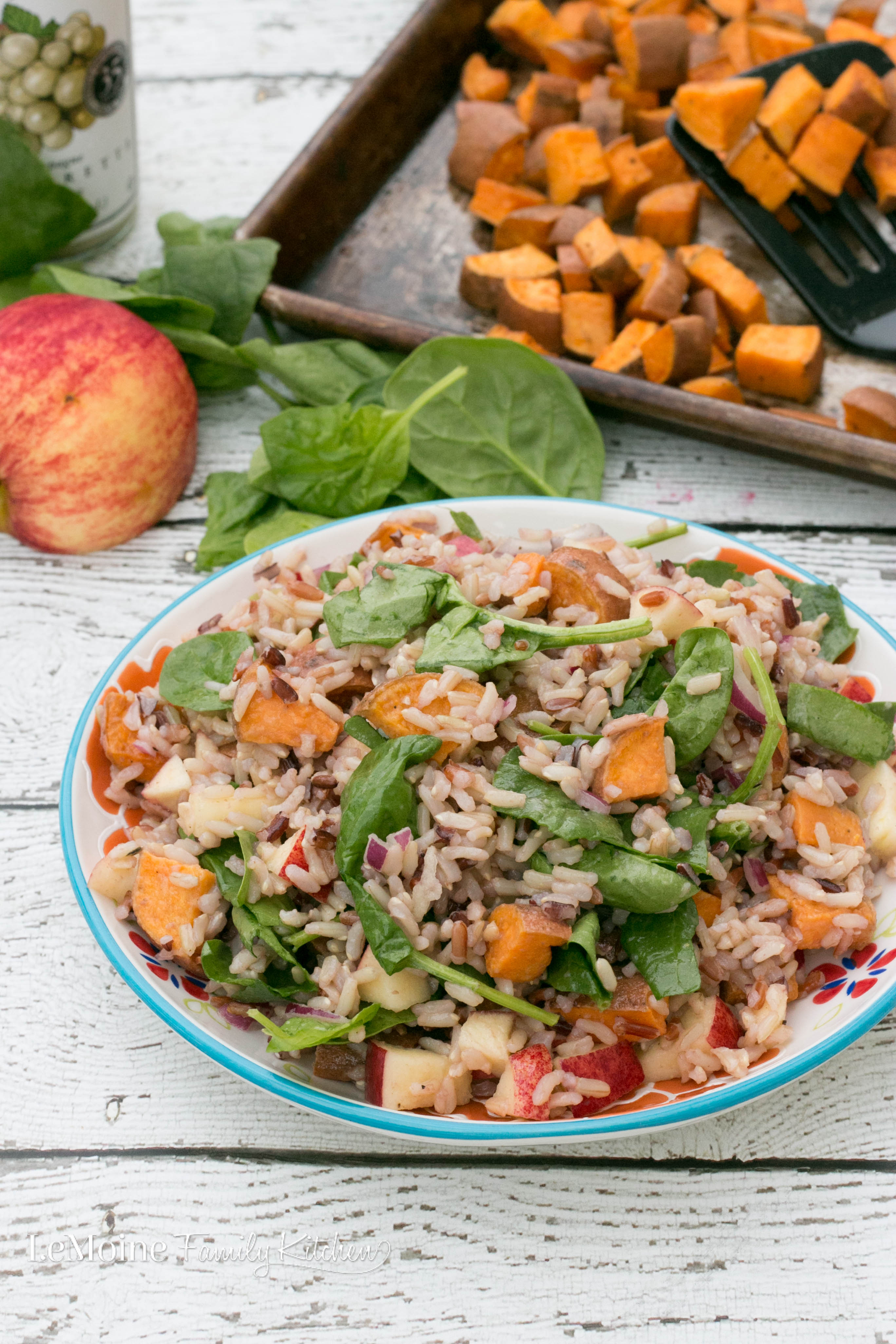My Fall inspired Wild Rice Salad with Sweet Potato, Spinach & Apple has such a wonderful combination of flavors and textures. Pretty darn lovely to look at too with the great colors of the sweet potato, spinach and apple. This is light, healthy and so easy to make!