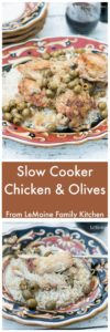 Back to school, back to a busy sports schedule, back to homework... and nights that there just isn't much time to cook. I've said it before, I think that no matter how busy, it is totally possible to get a home cooked meal on the table if you plan ahead. This Slow Cooker Chicken & Olives is SO EASY and tasty!  #slowcooker