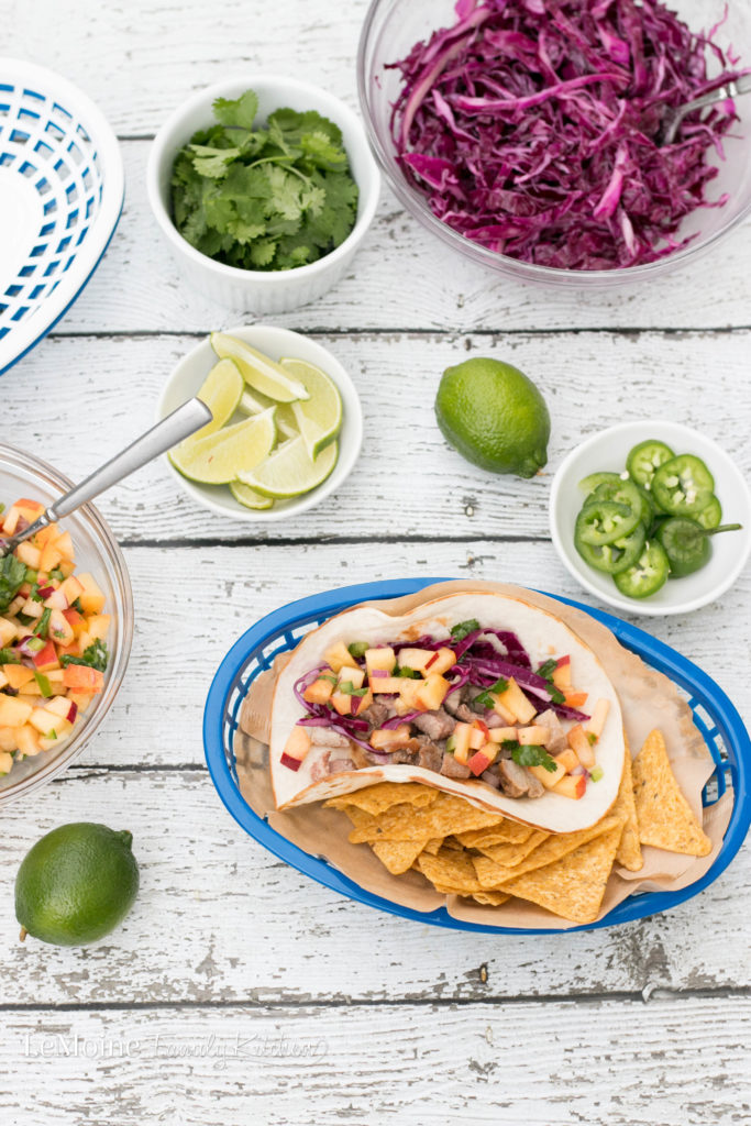 We really love taco nights in our house and let me tell you, these Pork Tacos with Sweet & Spicy Peach Salsa were a huge hit! This meal is not only delicious and colorful but it is on the table in under 45 minutes! You are going to love this recipe!