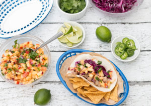 We really love taco nights in our house and let me tell you, thesePork Tacos with Sweet & Spicy Peach Salsa were a huge hit! This meal is not only delicious and colorful but it is on the table in 30 minutes! You are going to love this recipe! #ad #realflavorrealfast